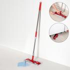 Швабра плоская Доляна, телескопическая стальная ручка 86-120 см, насадка из микрофибры 34×14 см - фото 4646991