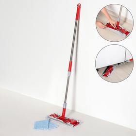 Швабра плоская Доляна, телескопическая стальная ручка 86-120 см, насадка из микрофибры 34×14 см
