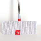 Швабра плоская Доляна, телескопическая стальная ручка 86-120 см, насадка из микрофибры 34×14 см - фото 4646993