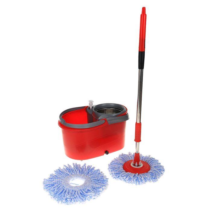 Набор для уборки: швабра, ведро с 2 центрифугами, колеса, доп. насадка, дозатор цвет МИКС