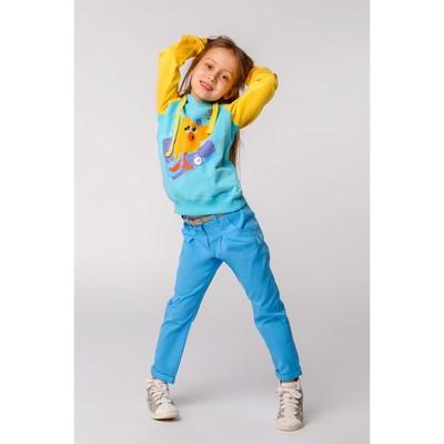 Брюки для девочки, рост 140 см, цвет голубой  26351020645.400