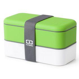 Ланч-бокс Original, бело-зелёный, 1 л