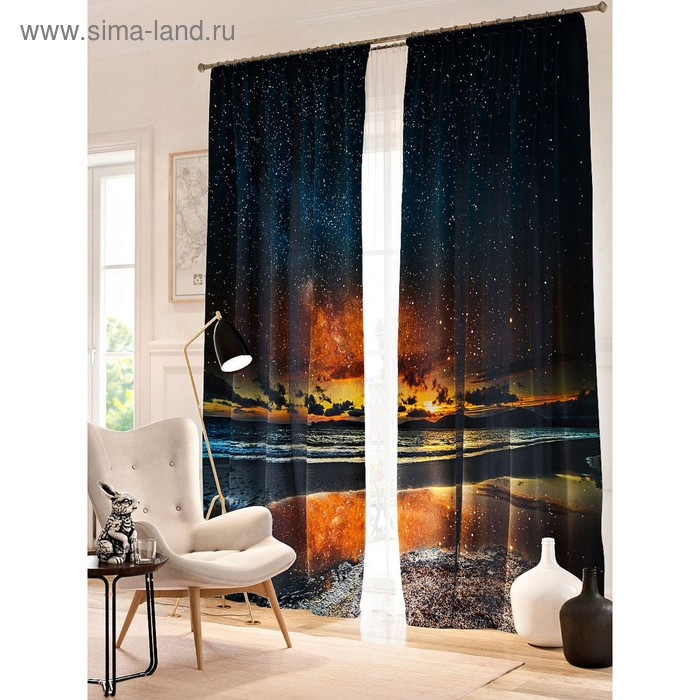 "Фотошторы ""Звездное небо над озером"", размер 150х260 см - 2 шт., блэкаут 900668"