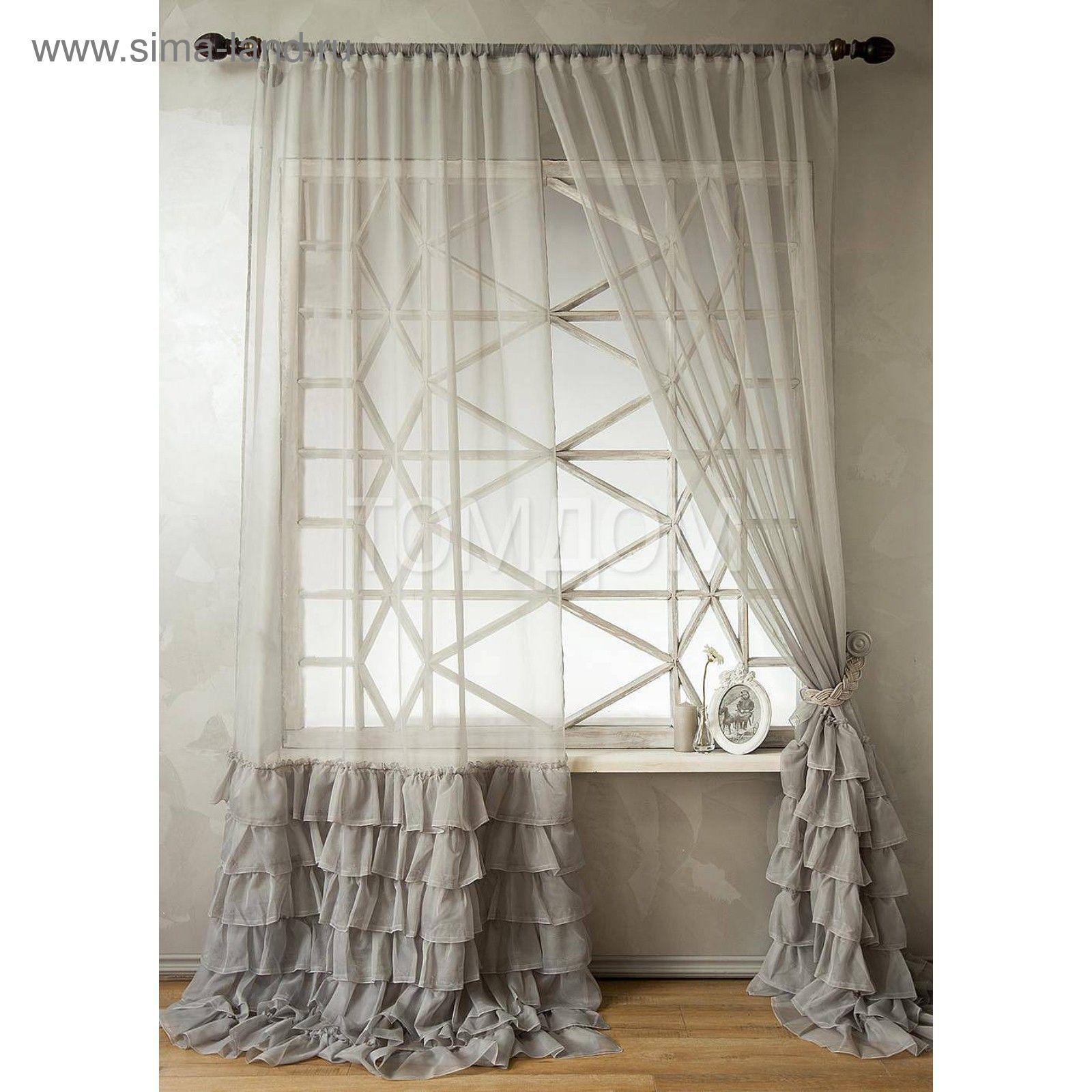 4f51a029552f0 Тюль «Фрезия», цвет серый, размер 140 х 270 см (2 шт.), вуаль ...