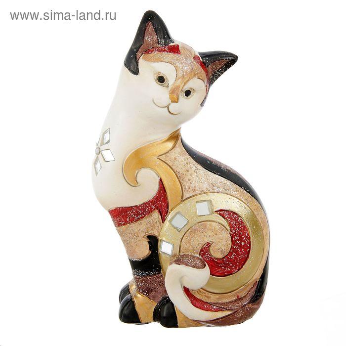 """Сувенир полистоун """"Кошка расписная красно-белая"""" 17х9х6 см"""