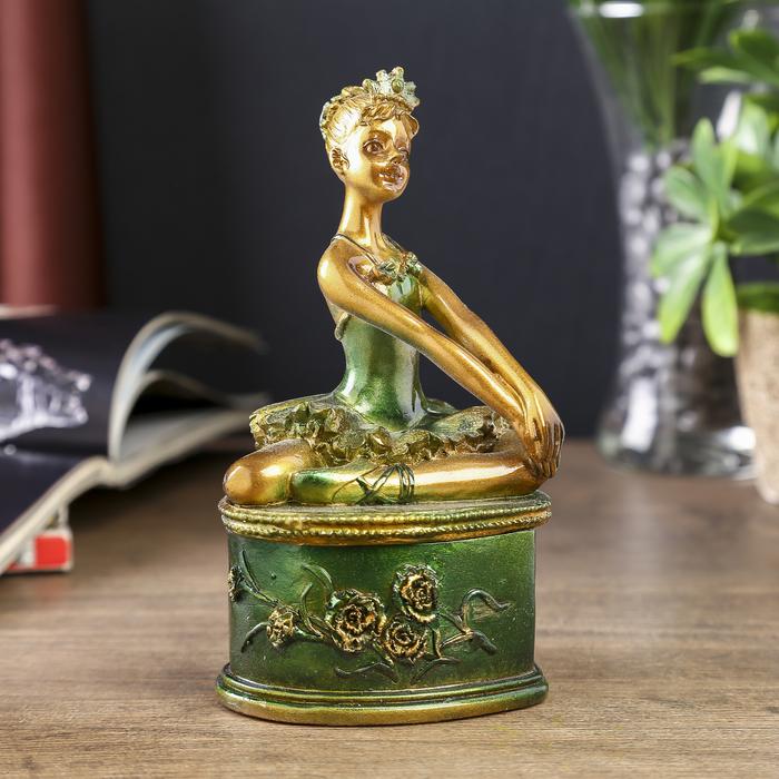 """Шкатулка полистоун """"Балерина в зелёной пачке"""" 15х8,5х8 см"""