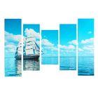 """Модульная картина на подрамнике """"Морская гладь"""", 2 — 60×30, 2 — 80×30, 1 — 100×30 см, 150×100"""