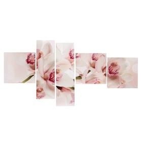 """Картина модульная на подрамнике  """"Орхидеи"""" 3- 34*34см, 2-20*70 см; 145х70"""
