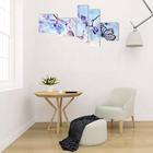 """Картина модульная на подрамнике  """"Голубые цветы"""" 3- 34*34см, 2-20*70 см; 145х70 - фото 1696263"""