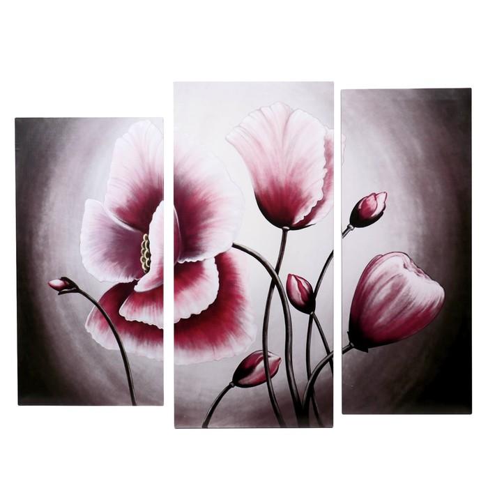 """Картина модульная на подрамнике  """"Розовые маки"""" 38*75 см, 41,5*90 см, 34*85см    115х90 см - фото 1696268"""