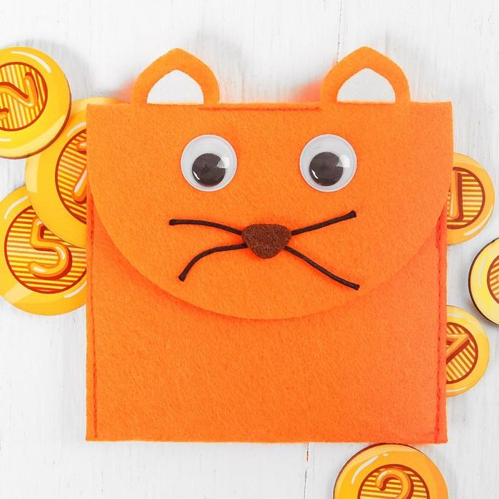 """Кошелёк с монетами """"Котик"""",монеты 2,5-4 см."""