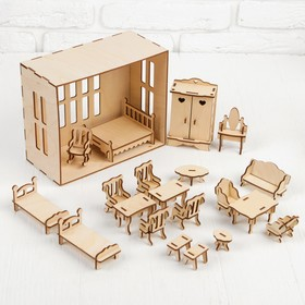 Набор мебели для домика, 20 предметов, для кукол 7-9 см