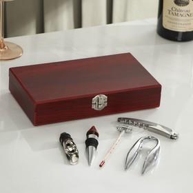 Набор для вина, 5 предметов: штопор, каплеуловитель, пробка, термометр, резец для фольги