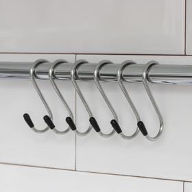 Набор крючков для рейлинга Доляна, d=1,5 см, 6 см, 6 шт, цвет хром