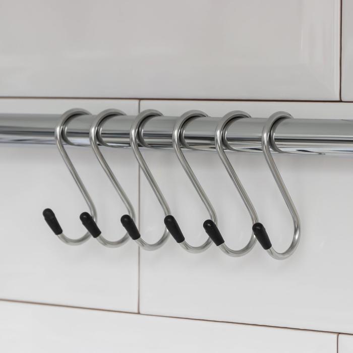 Набор крючков для рейлинга Доляна, d=1,5 см, 6 шт