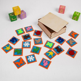 Мемо «Ассорти» в деревянной коробочке, 20 шт., 5 × 5 см