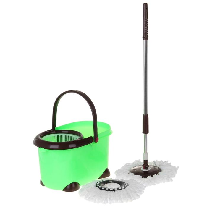 Набор для уборки: ведро с пластиковой центрифугой, швабра, запасная насадка, цвета МИКС