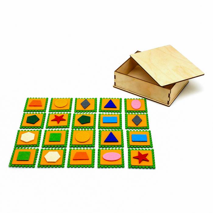 """Мемори """"Фигуры на липучках"""" в деревянной коробке, 20 шт.,5 × 5 см. фетр"""