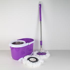 Набор для уборки: швабра, ведро с металлической центрифугой 21 л, запасная насадка из микрофибры, ножки, цвет МИКС