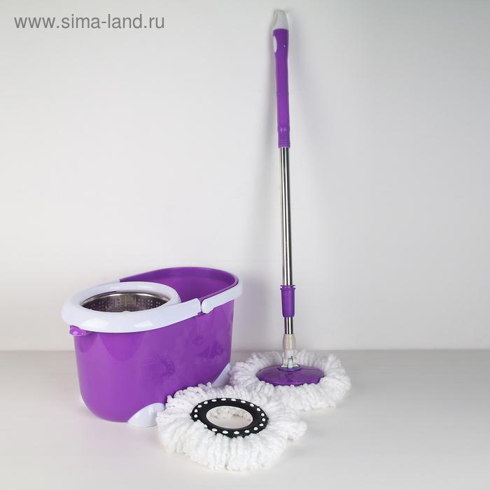 "Набор для уборки ""Палитра"": ведро с металлической центрифугой, швабра, запасная насадка, цвета МИКС"