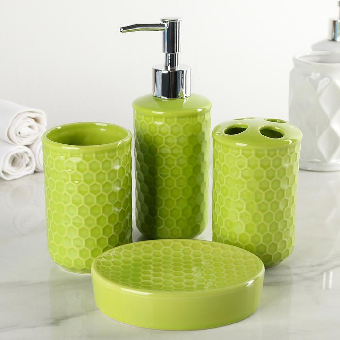 """Набор аксессуаров для ванной комнаты, 4 предмета """"Соты"""", цвет зеленый"""
