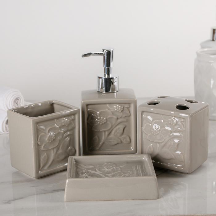"""Набор аксессуаров для ванной комнаты, 4 предмета """"Цветочный сад"""""""