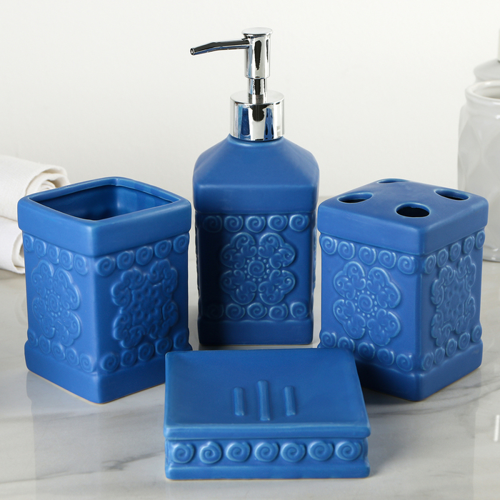 """Набор аксессуаров для ванной комнаты, 4 предмета """"Античный узор"""""""