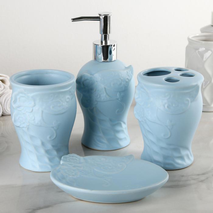"""Набор аксессуаров для ванной комнаты, 4 предмета """"Рельеф"""", цвет голубой"""