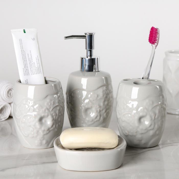 """Набор аксессуаров для ванной комнаты, 4 предмета """"Ракушки"""", цвет бежевый"""