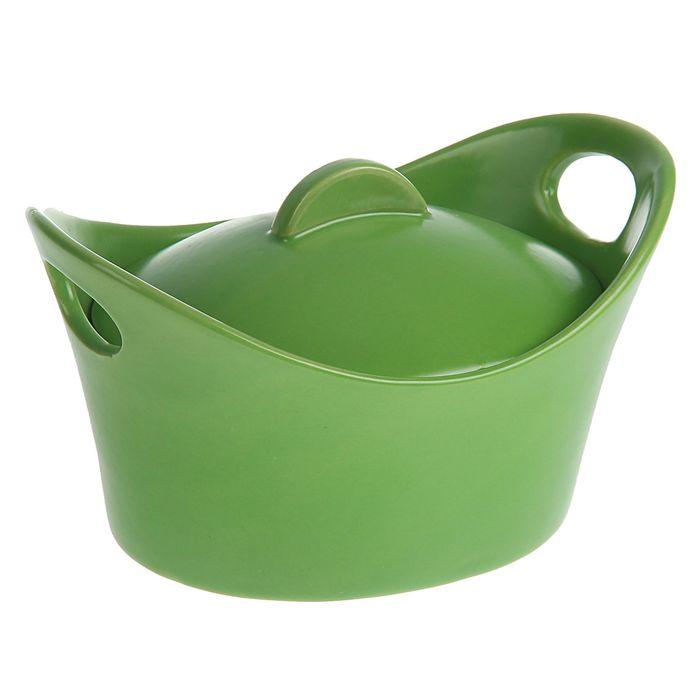 """Кокотница с крышкой 500 мл """"Базилик"""", цвет зеленый"""