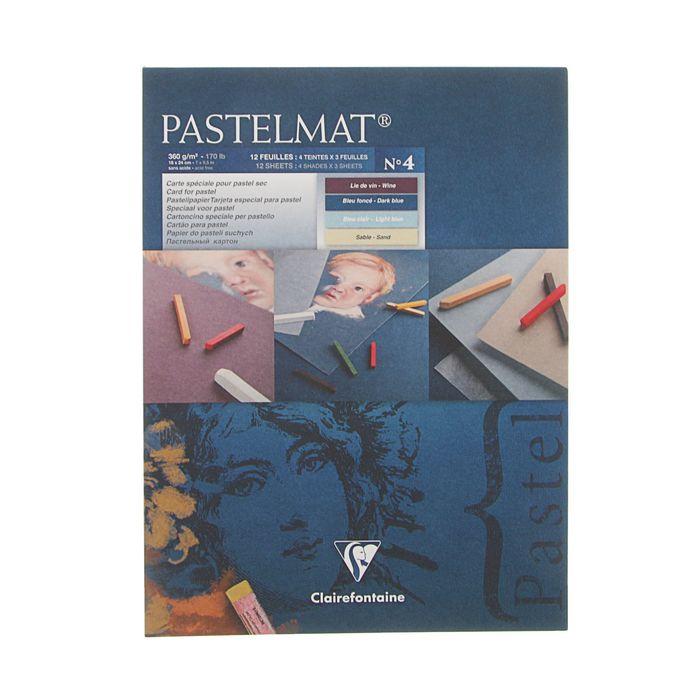 Альбом для пастели В5 180*240 мм Clairefontaine Pastelmat 12 листов склейка 360 г/м2, 4 цвета 96110С