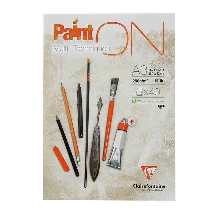 Альбом для смешанных техник А3 Clairefontaine Paint On 40 л 250 г/м2 склейка 96536С
