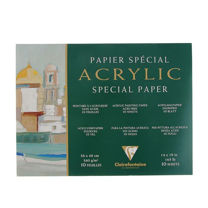Альбом для акрила В3 360*480 мм Clairefontaine Acrylic Special 10 листов 360 г/м2 склейка 96498С
