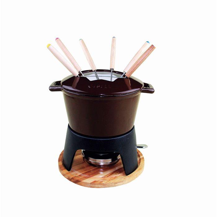 Набор для приготовления фондю 17 х 6,5 см, коричневая эмаль
