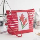 """Косметичка-сумочка на молнии """"Цветение"""", с ручкой, 1 отдел, цвет красный"""