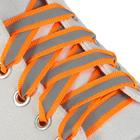 Laces for shoes, flat, with reflective strips, 10 mm, 70 cm, color orange