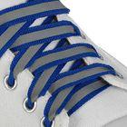 Шнурки для обуви плоские, со светоотражающей полосой, d=10мм, 70см, цвет синий