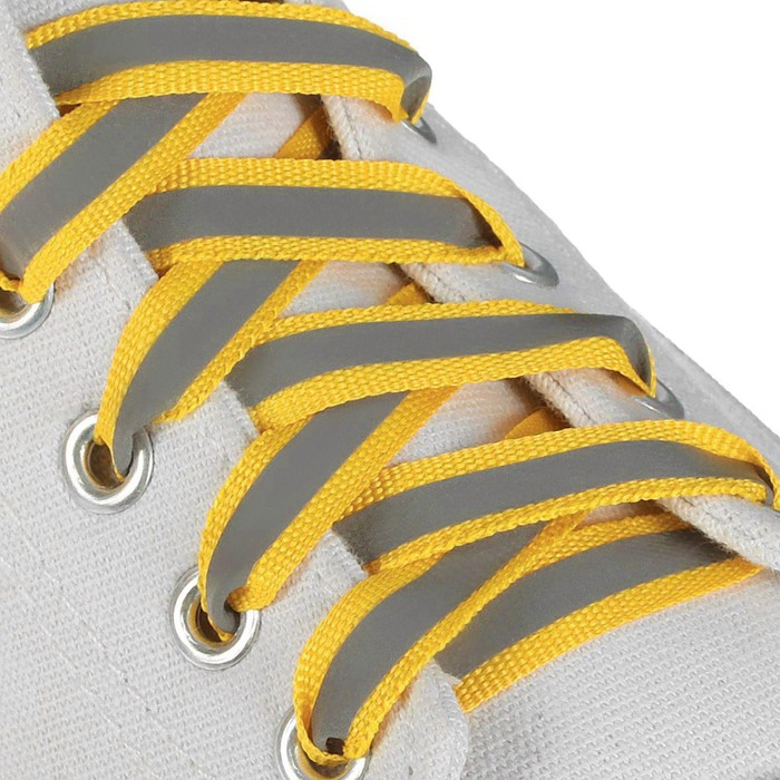 Шнурки для обуви, плоские, со светоотражающей полосой, 10 мм, 70 см, пара, цвет жёлтый