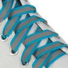 Шнурки для обуви, со светоотражающей полосой, d = 10 мм, 70 см, пара, цвет голубой