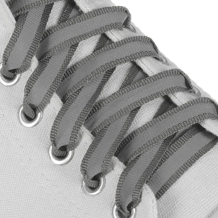 Шнурки для обуви плоские, со светоотражающей полосой, d=10мм, 100см, цвет серый