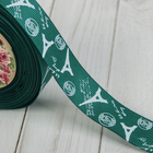 Лента репсовая «Париж», 25 мм, 22 ± 1 м, цвет зелёный