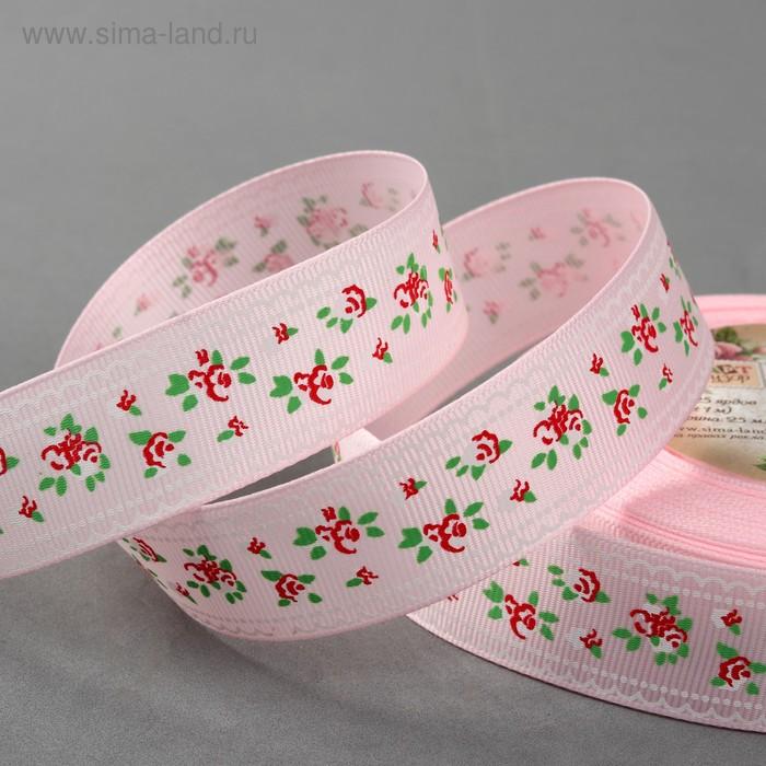 """Лента репсовая """"Цветочки"""", 25мм, 22±1м, цвет розовый"""