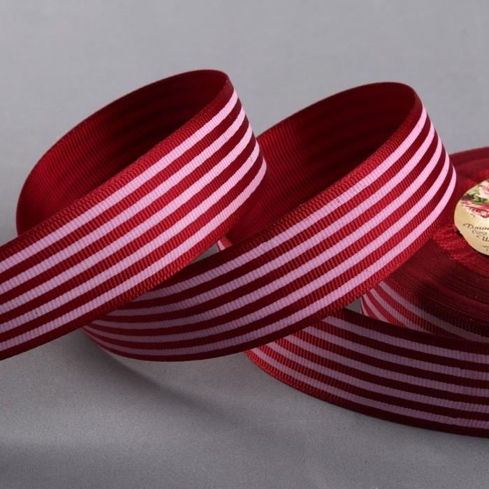 Лента репсовая «Полоски», 25 мм, 22 ± 1 м, цвет бордовый №037