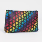 "Cosmetic bag-pencil case with zipper ""Heart"", the division 1, color black"