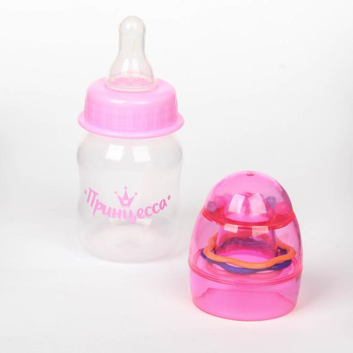 Бутылочка для кормления «Принцесса» с погремушкой, 60 мл, от 0 мес., цвет розовый