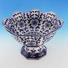 """Ваза """"Гвина"""" фарфор, белая с синим орнаментом 26х26х17 см"""