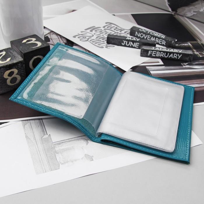 Обложка для автодокументов и паспорта, игуана, тёмно-голубой