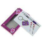 Набор подарочный 4в1 в карт.коробке (ручка+брелок-фотоаппарат+2заколки) фиолет 9*16см