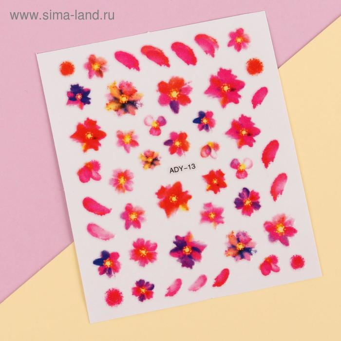 """Слайдер-дизайн для ногтей """"Цветы"""", водный, цвета МИКС"""