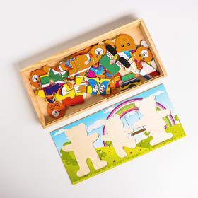 Пазл «Семья медвежат» на древесном фоне, 29 элементов